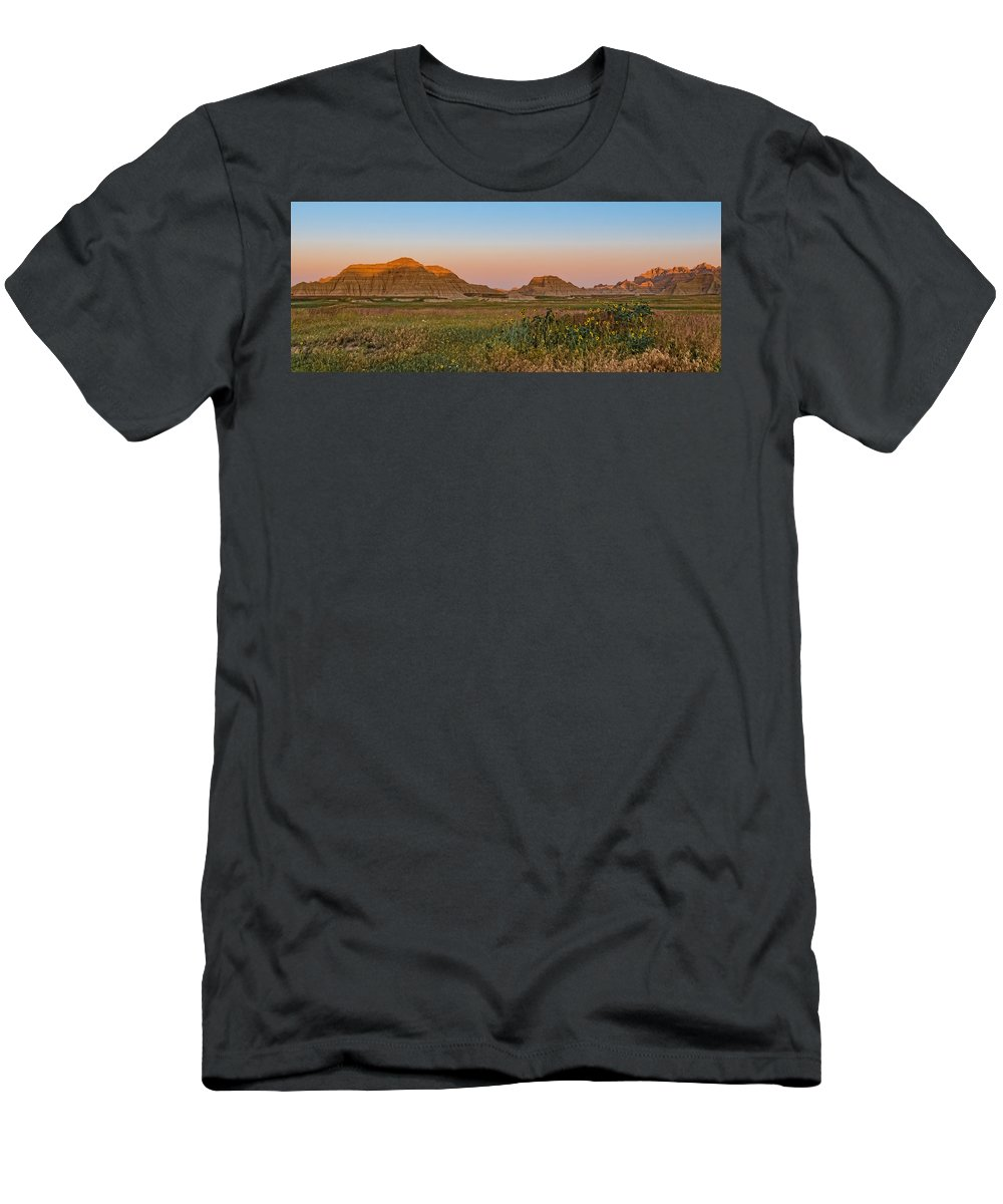 Landscape Men's T-Shirt (Athletic Fit) featuring the photograph Good Morning Badlands II by Patti Deters