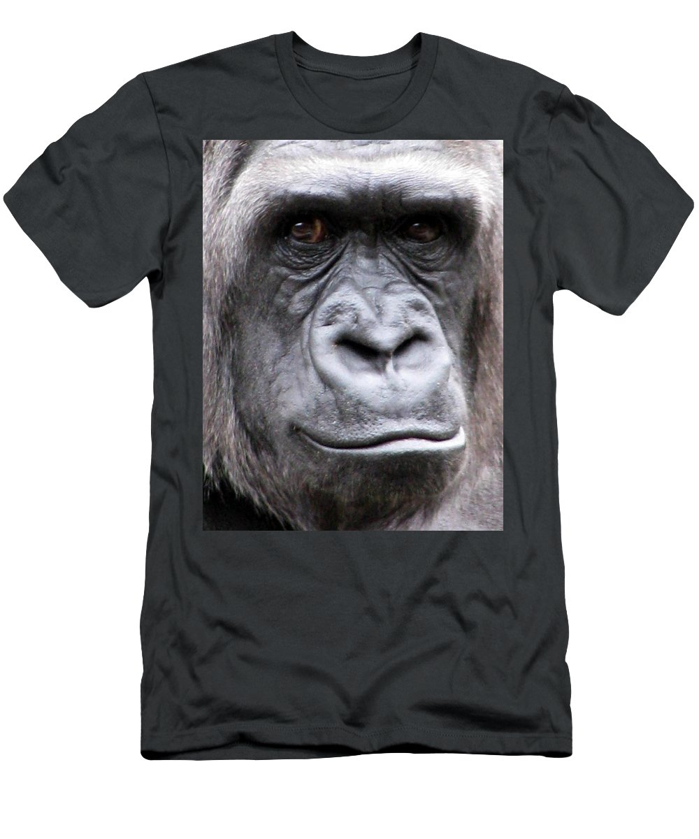 Gorilla Men's T-Shirt (Athletic Fit) featuring the photograph Gorilla - Jackie by Pamela Critchlow