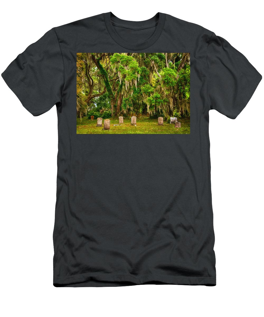 Gould's Cemetery Men's T-Shirt (Athletic Fit) featuring the photograph Gould's Cemetery by Priscilla Burgers