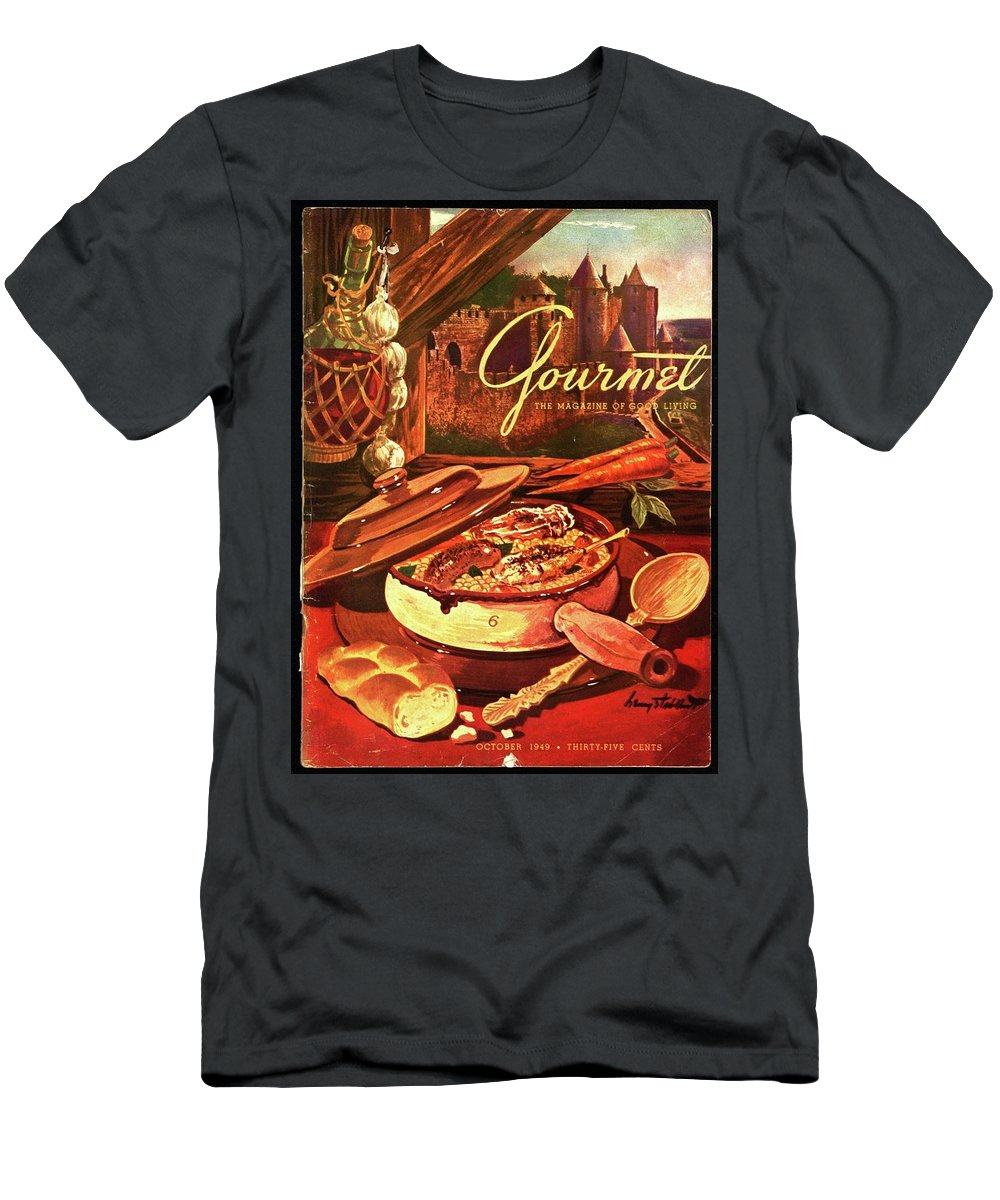 Illustration Men's T-Shirt (Athletic Fit) featuring the photograph Gourmet Cover Featuring A Pot Of Stew by Henry Stahlhut
