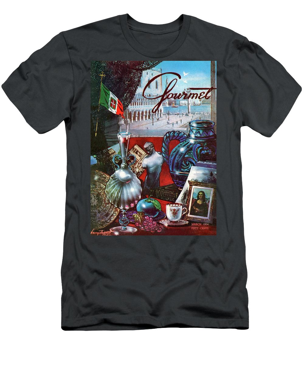 Food Men's T-Shirt (Athletic Fit) featuring the photograph Gourmet Cover Featuring A Variety Of Italian by Henry Stahlhut
