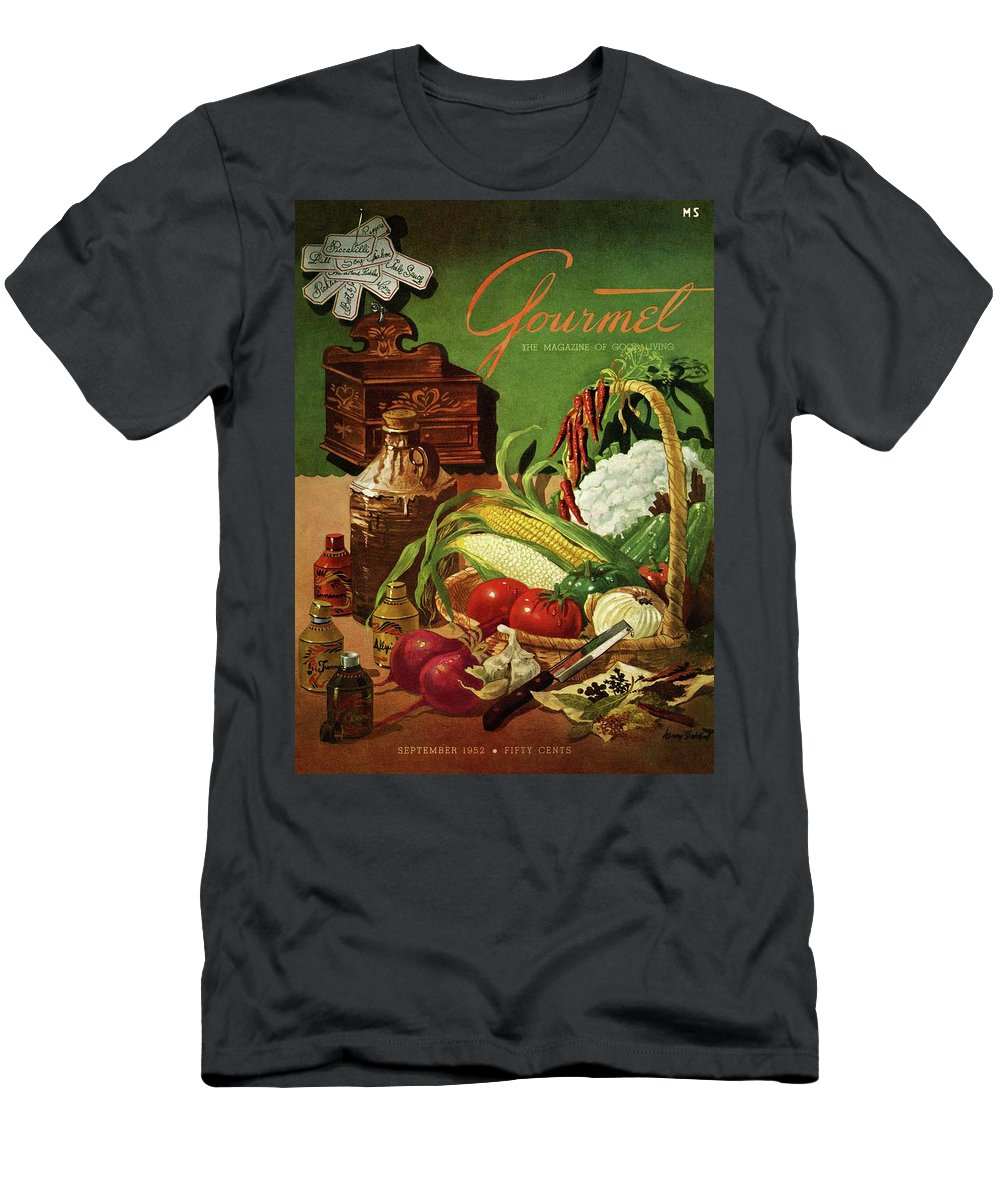 Food Men's T-Shirt (Athletic Fit) featuring the photograph Gourmet Cover Featuring A Variety Of Vegetables by Henry Stahlhut
