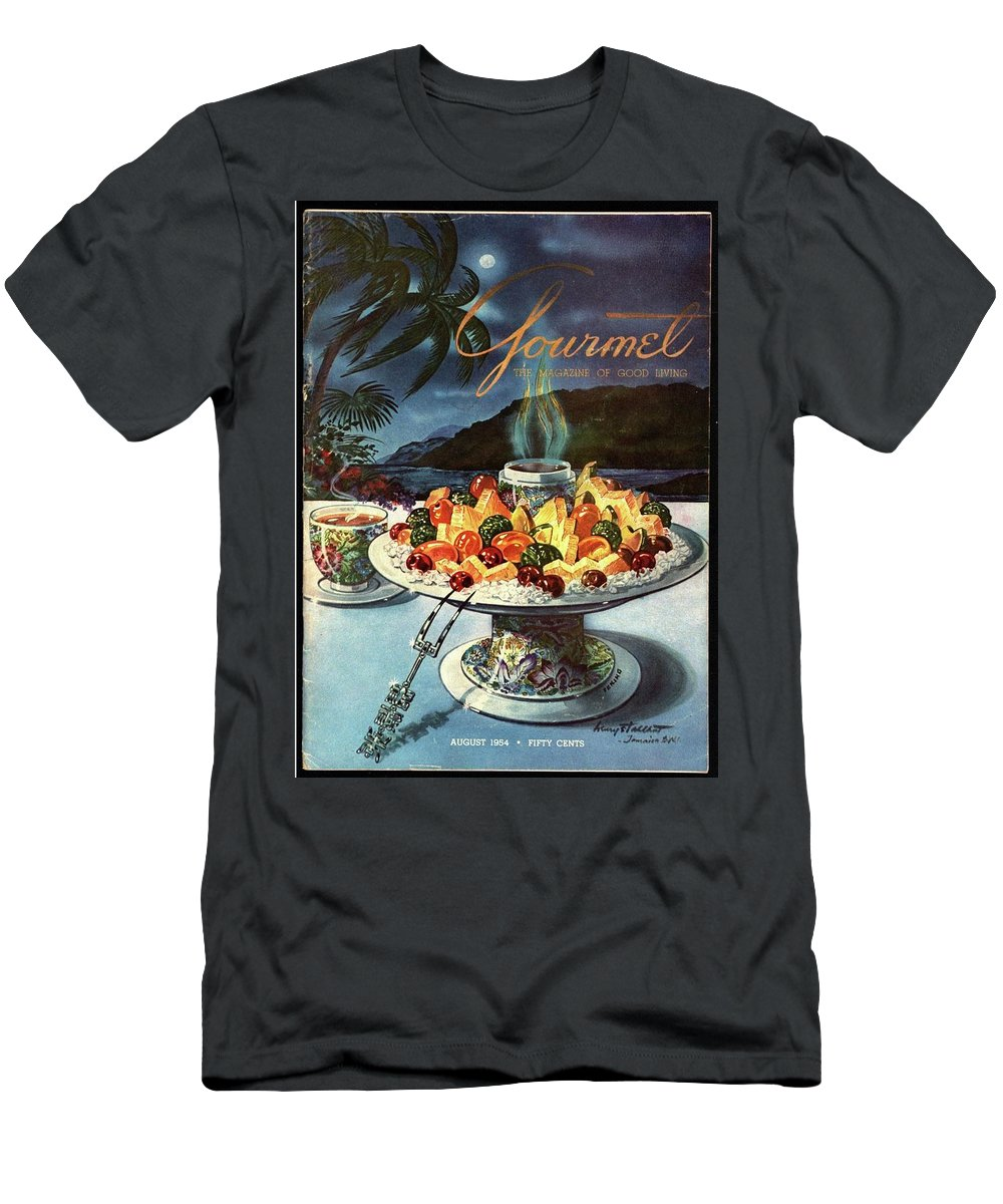 Food Men's T-Shirt (Athletic Fit) featuring the photograph Gourmet Cover Illustration Of Fruit Dish by Henry Stahlhut