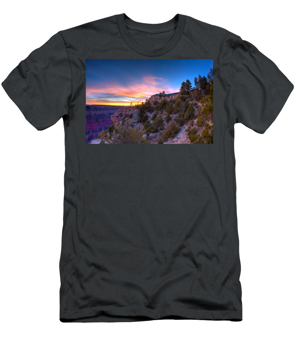Grand Canyon Men's T-Shirt (Athletic Fit) featuring the photograph Grand Canyon Lodge by Alexey Stiop