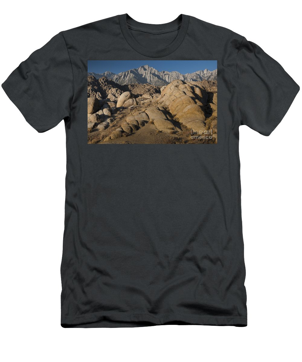 Alabama Hills Men's T-Shirt (Athletic Fit) featuring the photograph Granite Rock Formations, Alabama Hills by John Shaw