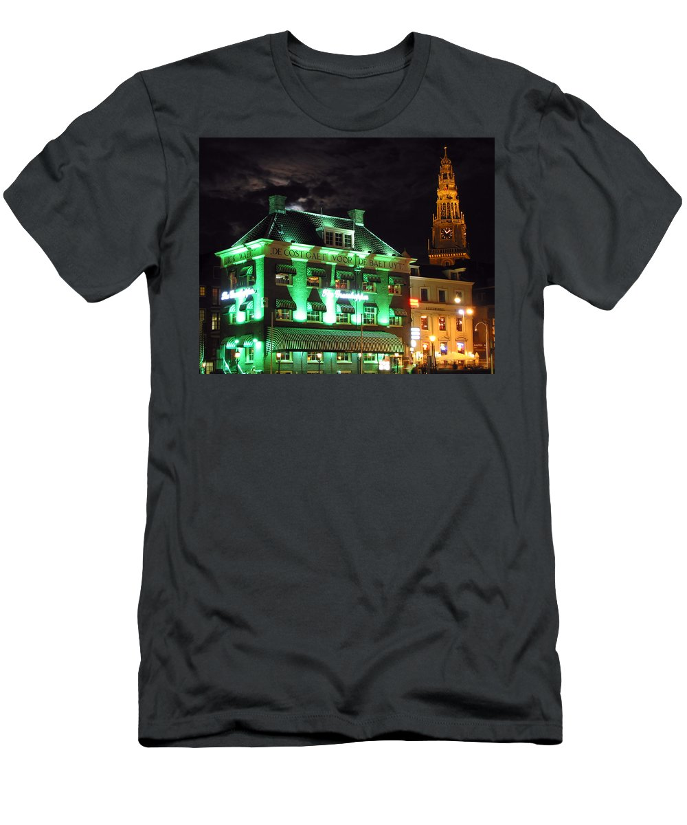 3scape Men's T-Shirt (Athletic Fit) featuring the photograph Grasshopper Bar by Adam Romanowicz
