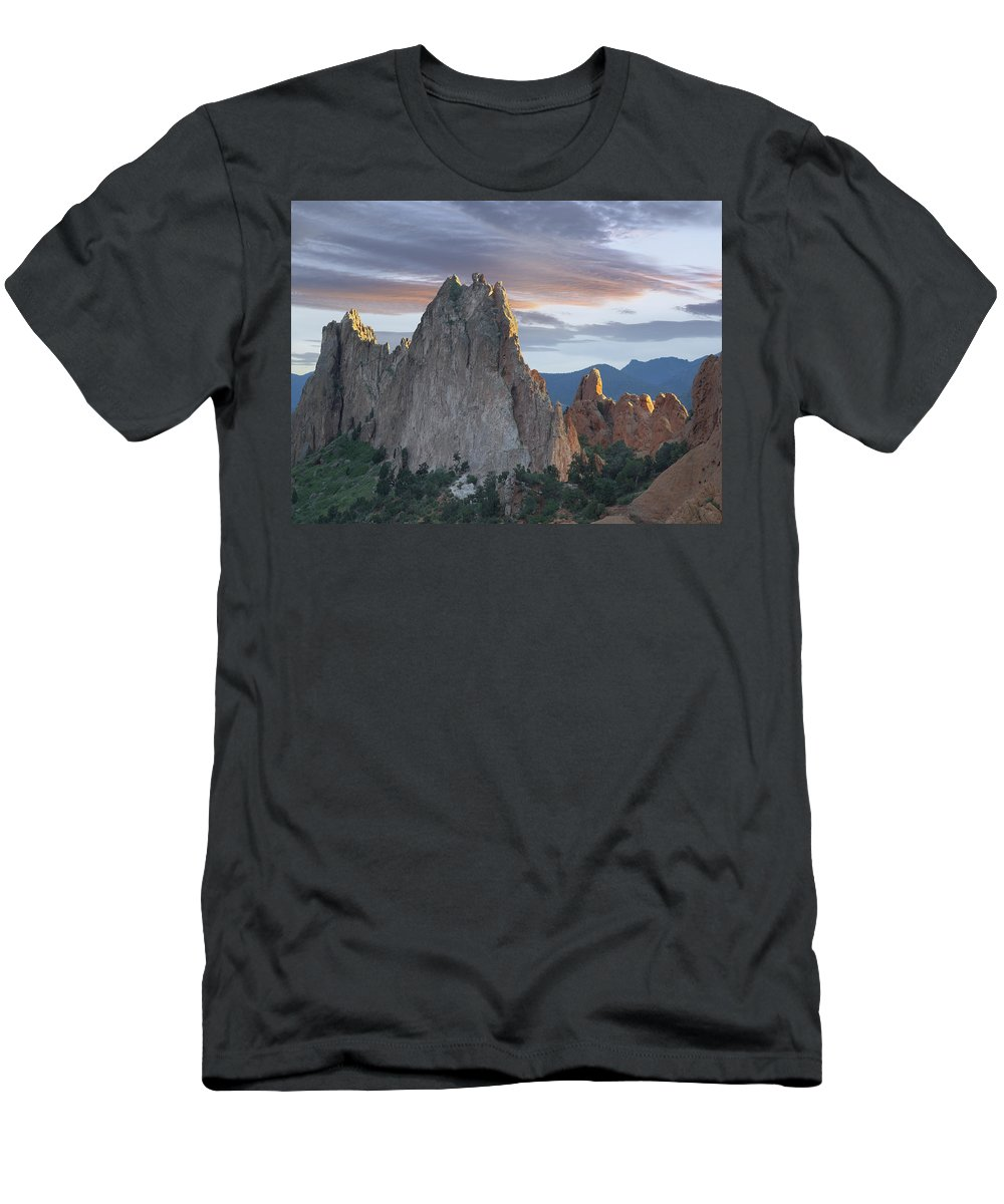 Feb0514 Men's T-Shirt (Athletic Fit) featuring the photograph Gray Rock And South Gateway Rock Garden by Tim Fitzharris