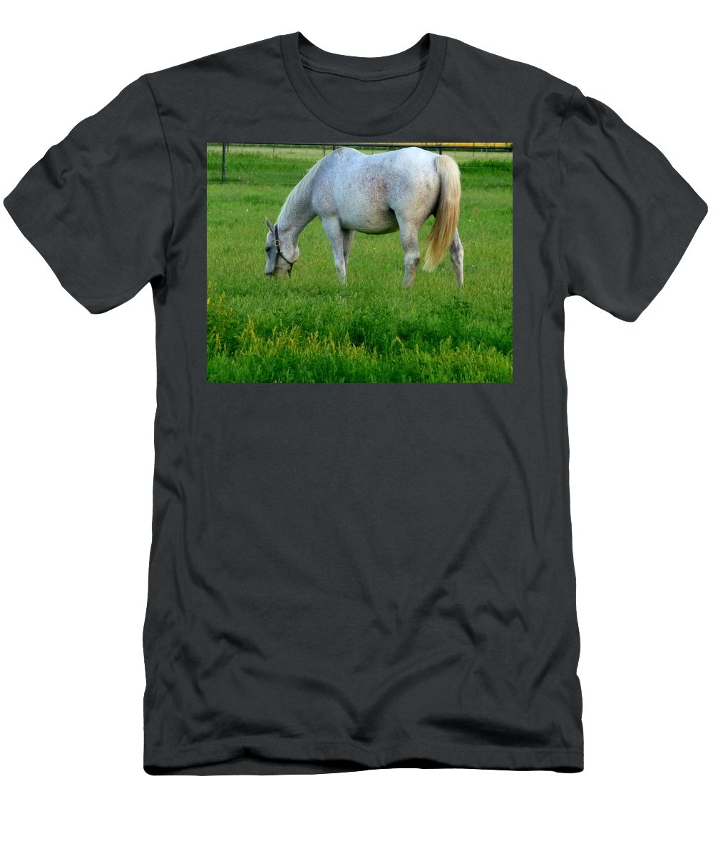 Horse Men's T-Shirt (Athletic Fit) featuring the photograph Grazing by Jackie Austin