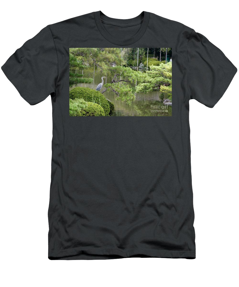 Blue Men's T-Shirt (Athletic Fit) featuring the photograph Great Blue Heron In Pond Kyoto Japan by Thomas Marchessault
