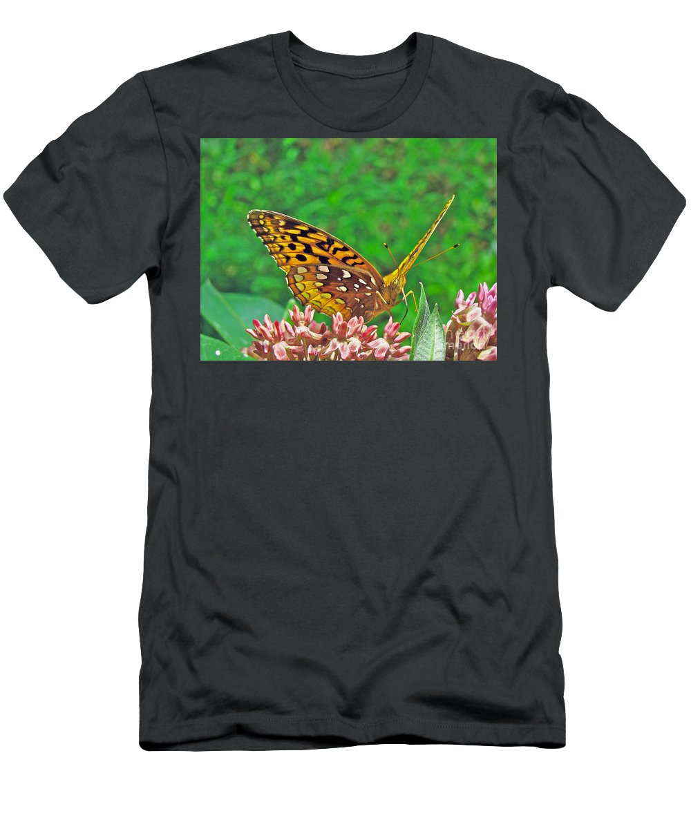 Butterfly Men's T-Shirt (Athletic Fit) featuring the photograph Great Spangled Fritillary Butterfly - Speyeria Cybele by Mother Nature