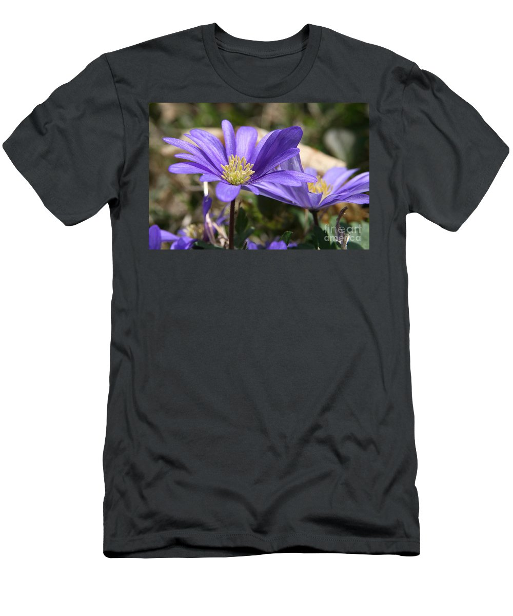 Grecian Windflower Men's T-Shirt (Athletic Fit) featuring the photograph Grecian Windflower by Neal Eslinger