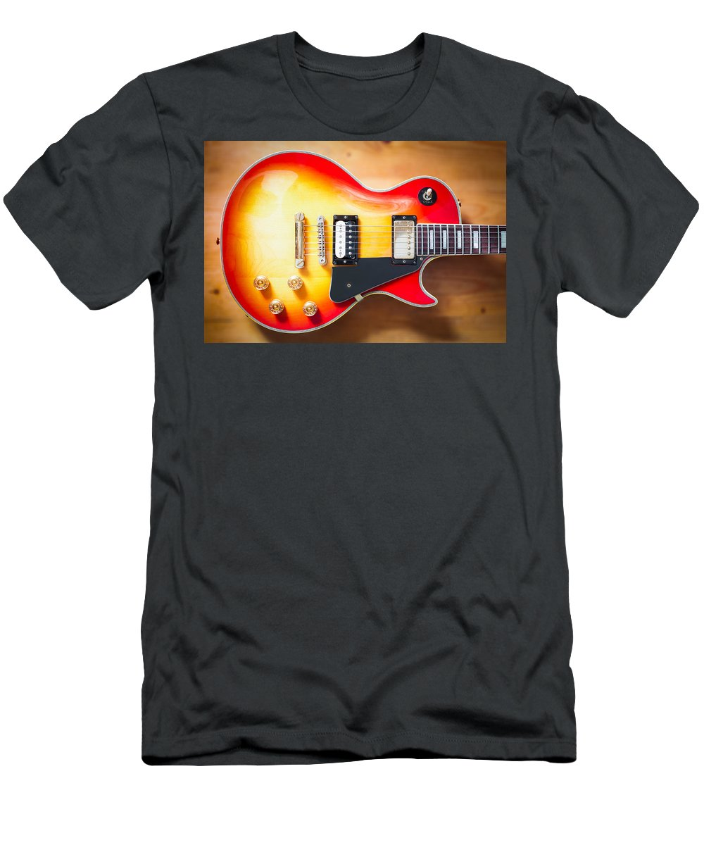 Acoustic Men's T-Shirt (Athletic Fit) featuring the photograph Greco Guitar Body by Semmick Photo