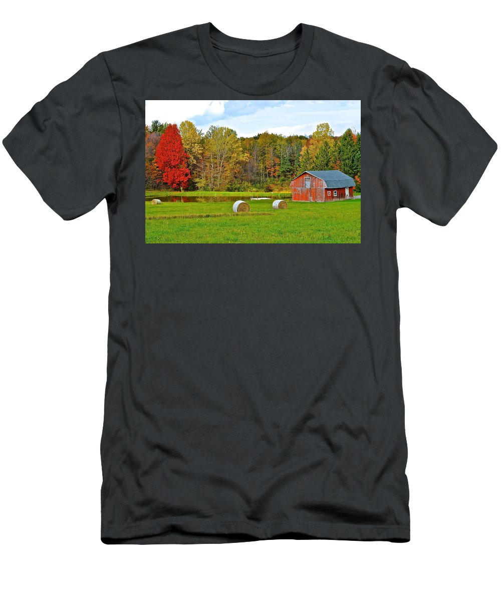 Green Men's T-Shirt (Athletic Fit) featuring the photograph Green Acres by Frozen in Time Fine Art Photography