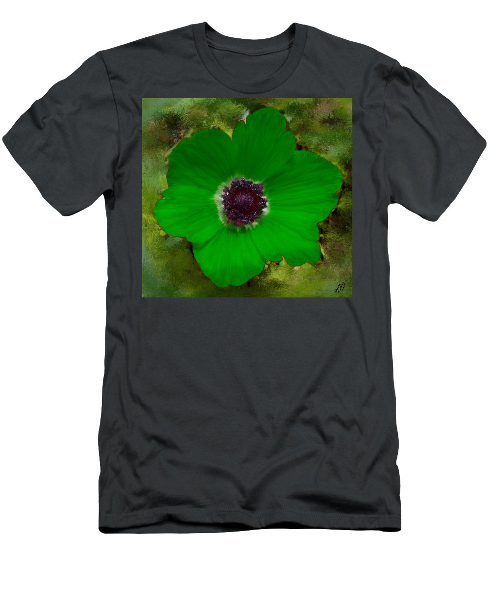 Green Men's T-Shirt (Athletic Fit) featuring the painting Green Calanit Magen by Bruce Nutting