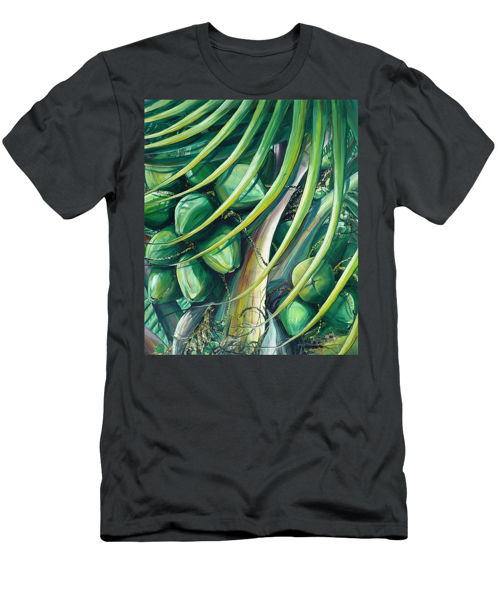 Coconut Painting Caribbean Painting Coconuts Caribbean Tropical Painting Palm Tree Painting  Green Botanical Painting Green Painting Men's T-Shirt (Athletic Fit) featuring the painting Green Coconuts 2 by Karin Dawn Kelshall- Best