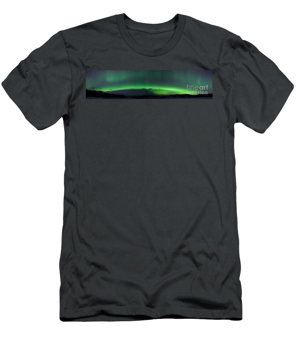 Arc Men's T-Shirt (Athletic Fit) featuring the photograph Green Northern Lights Arc by Stephan Pietzko