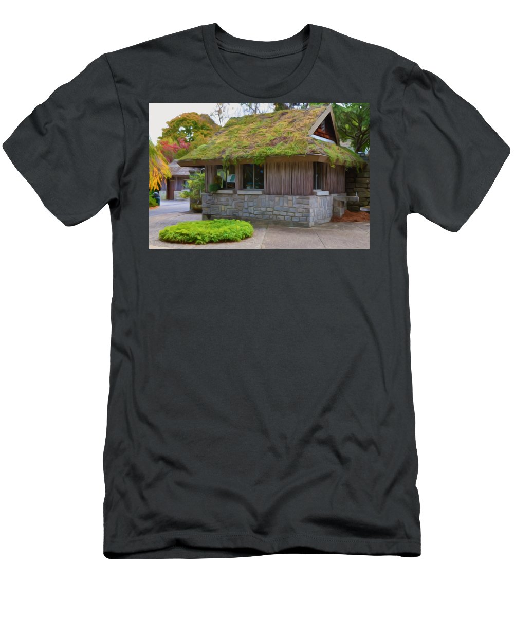 Roof Men's T-Shirt (Athletic Fit) featuring the painting Green Roof by Jeelan Clark