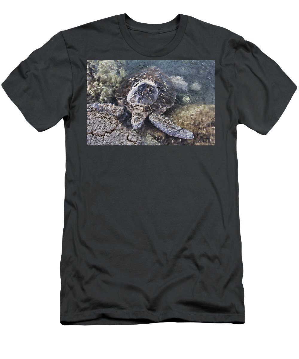 Green Sea Turtle Men's T-Shirt (Athletic Fit) featuring the photograph Green Sea Turtle Hawaii by Douglas Barnard