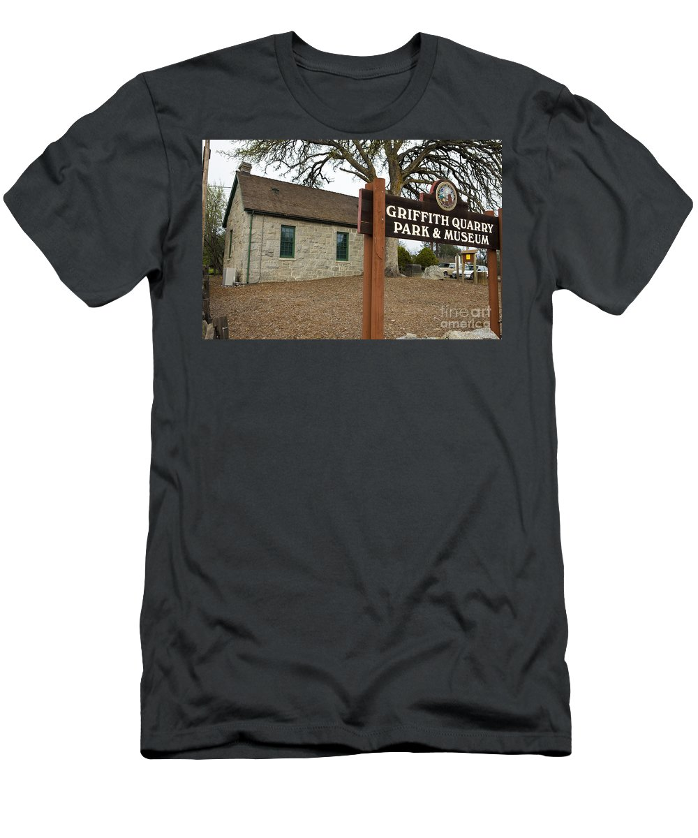 Travel Men's T-Shirt (Athletic Fit) featuring the photograph Griffith Quarry Park And Museum Penryn California by Jason O Watson