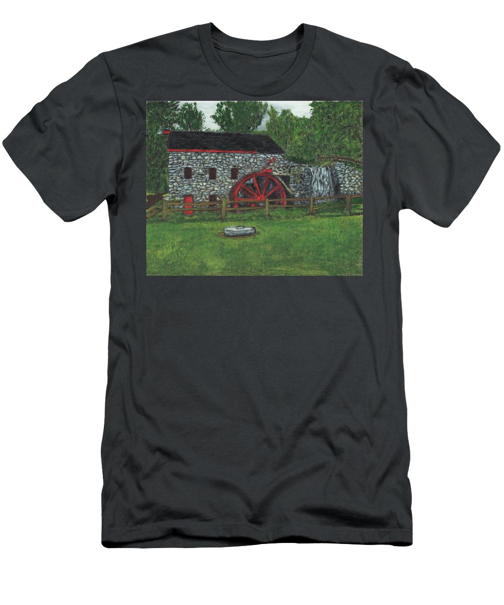 Landscape Men's T-Shirt (Athletic Fit) featuring the painting Grist Mill At Wayside Inn by Cliff Wilson