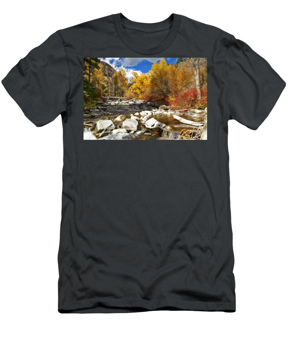 Grizzly Creek Canyon Men's T-Shirt (Athletic Fit) featuring the photograph Grizzly Creek Canyon by Jeremy Rhoades
