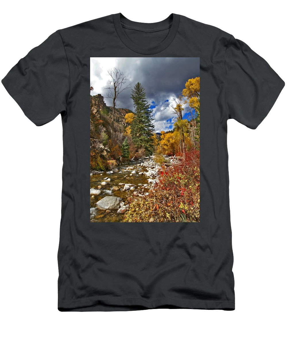 Grizzly Creek Men's T-Shirt (Athletic Fit) featuring the photograph Grizzly Creek Vertical by Jeremy Rhoades