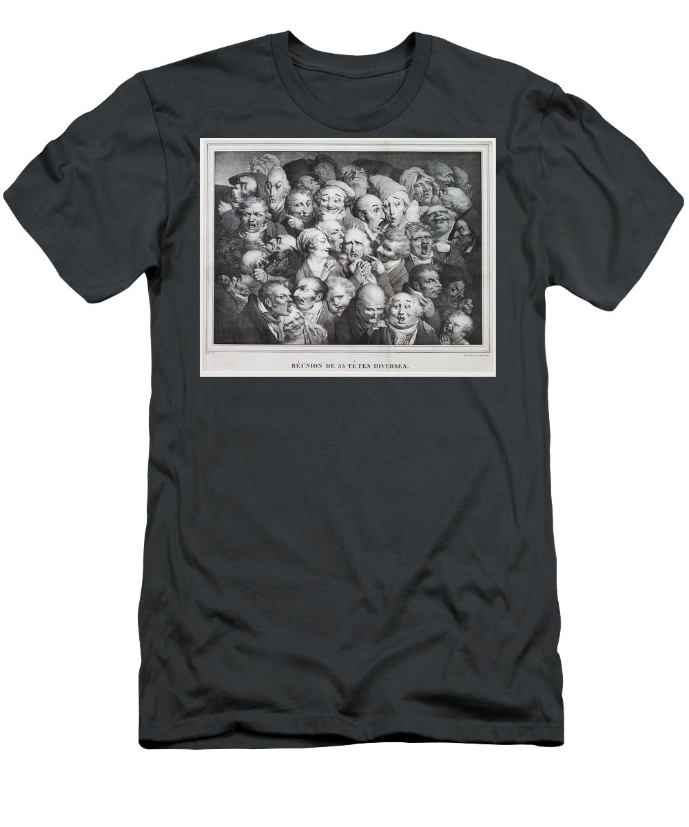 Louis Leopold Boilly Men's T-Shirt (Athletic Fit) featuring the drawing Group Of Thirty-five Heads by Louis Leopold Boilly