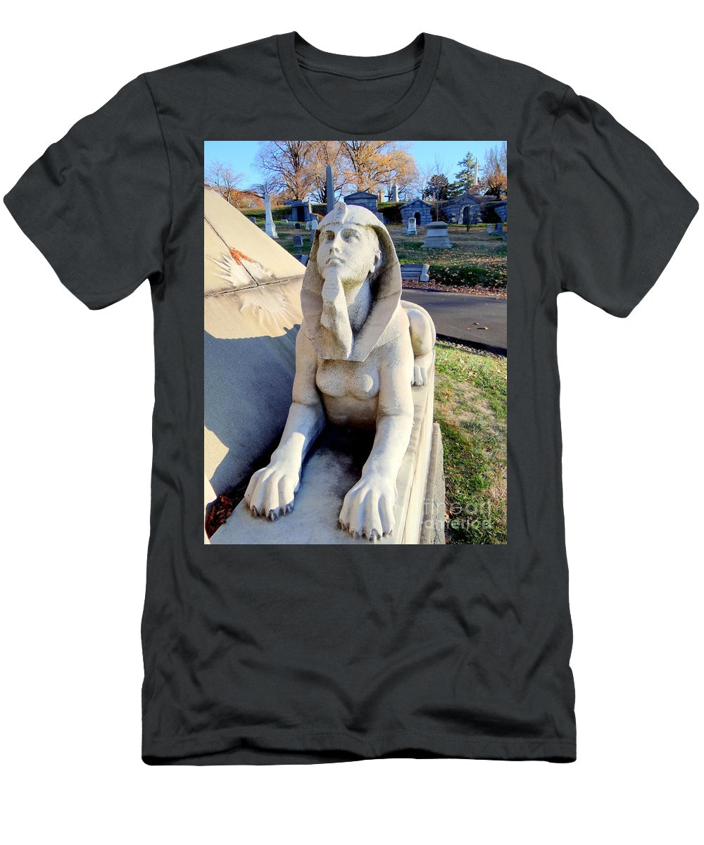 Statue Men's T-Shirt (Athletic Fit) featuring the photograph Guarding The Pyramid by Ed Weidman
