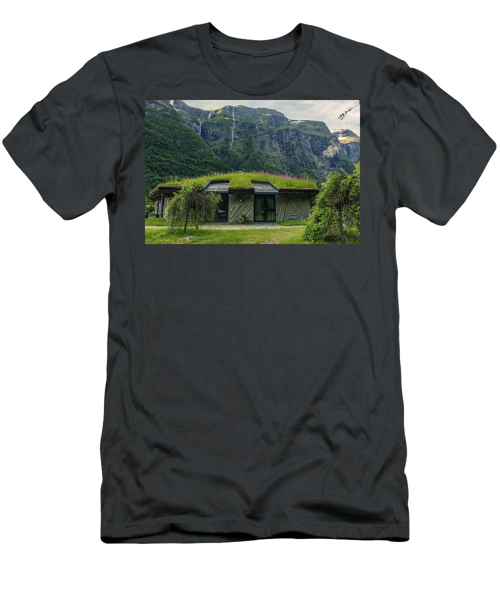 Gudvangen Norway Style Sunroof Men's T-Shirt (Athletic Fit) featuring the photograph Gudvangen Norway Style Sunroof by Angela Stanton