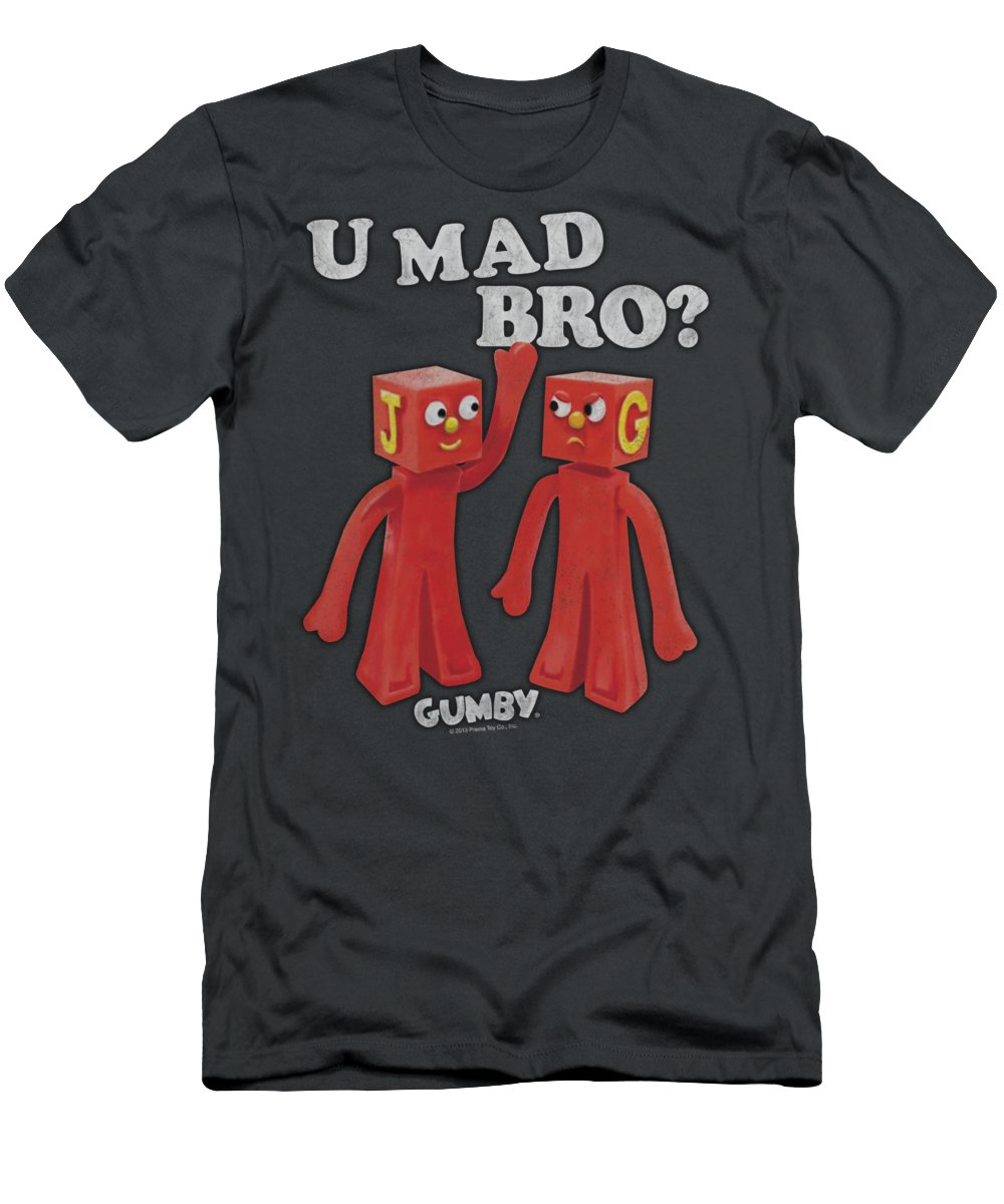 Gumby Men's T-Shirt (Athletic Fit) featuring the digital art Gumby - U Mad Bro by Brand A