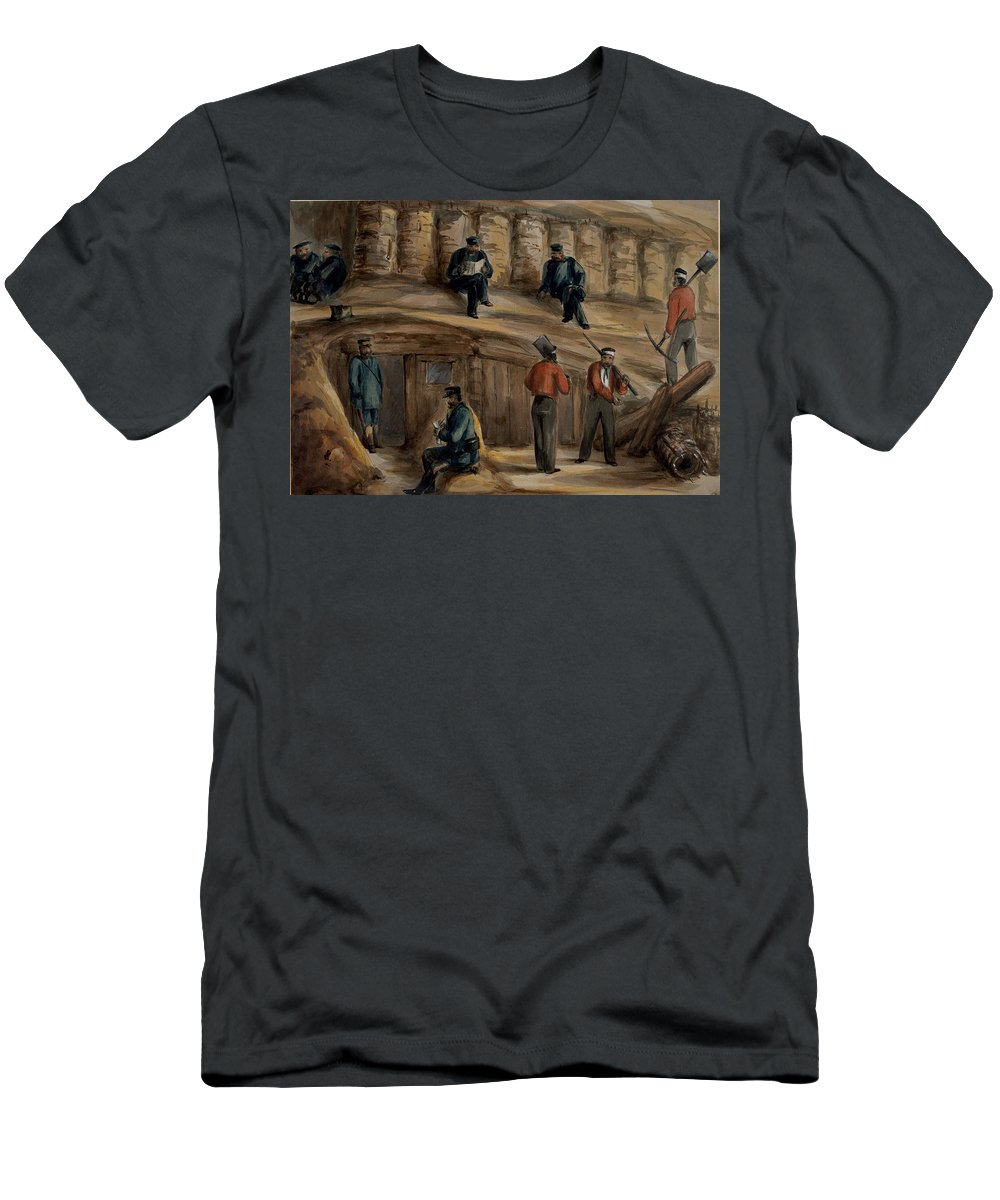 Trench Warfare Men's T-Shirt (Athletic Fit) featuring the drawing Gunners Of The Royal Regiment by Lt. Henry James Alderson