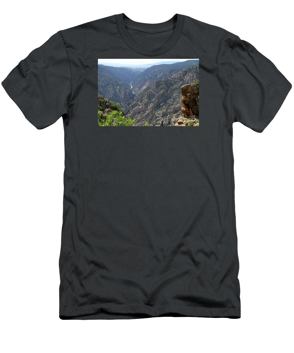 Black Canyon Men's T-Shirt (Athletic Fit) featuring the photograph Gunnison River Winding Through The Mountains by Christiane Schulze Art And Photography