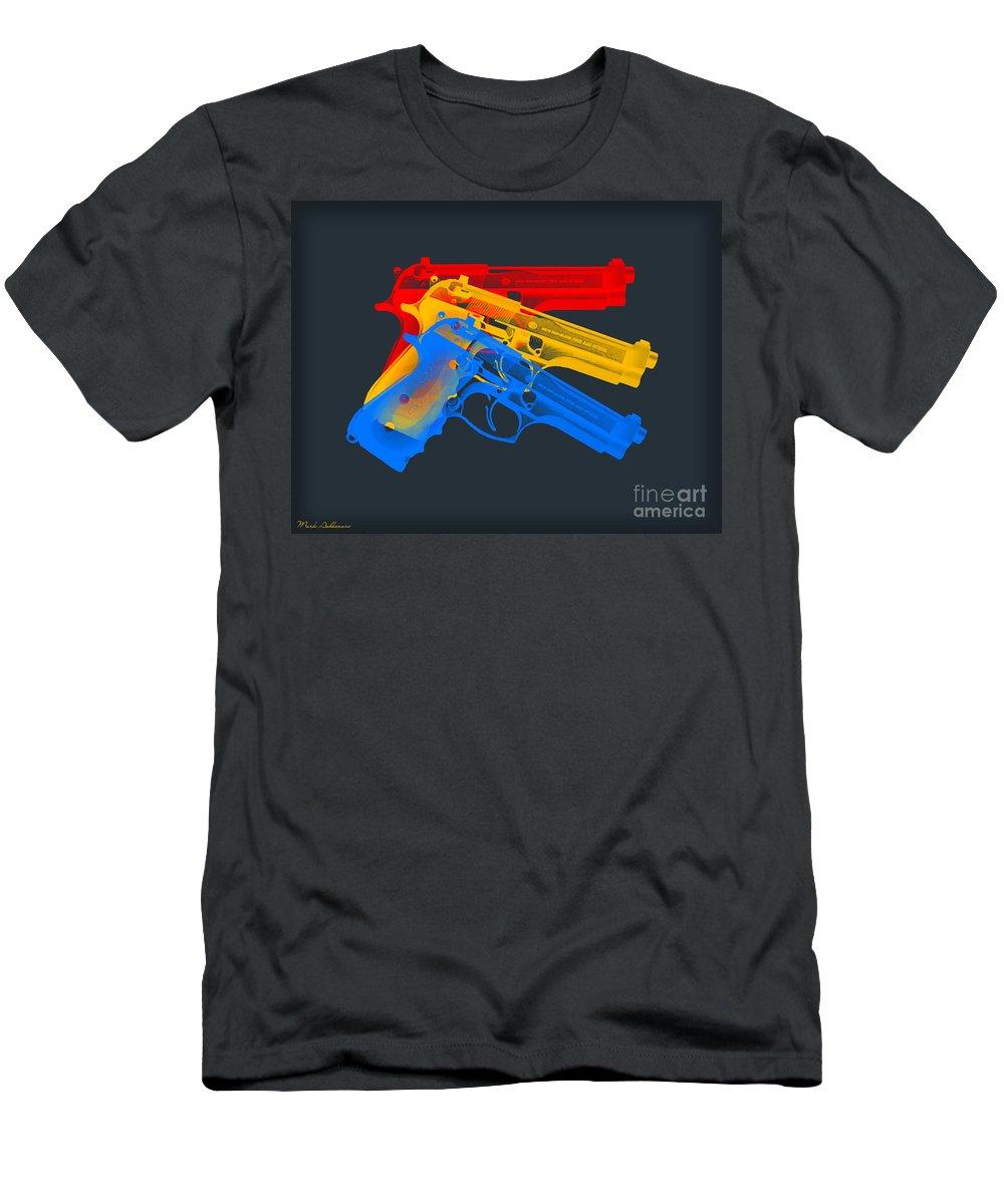 Guns Men's T-Shirt (Athletic Fit) featuring the digital art Guns by Mark Ashkenazi
