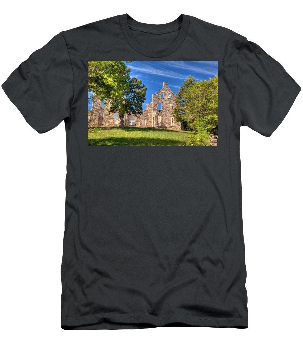 Ha Ha Tonka Men's T-Shirt (Athletic Fit) featuring the photograph Ha Ha Tonka Castle by Steve Stuller