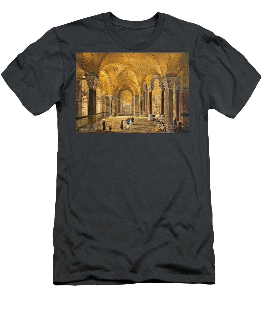 Mosque Men's T-Shirt (Athletic Fit) featuring the drawing Haghia Sophia, Plate 12 The Meme by Gaspard Fossati