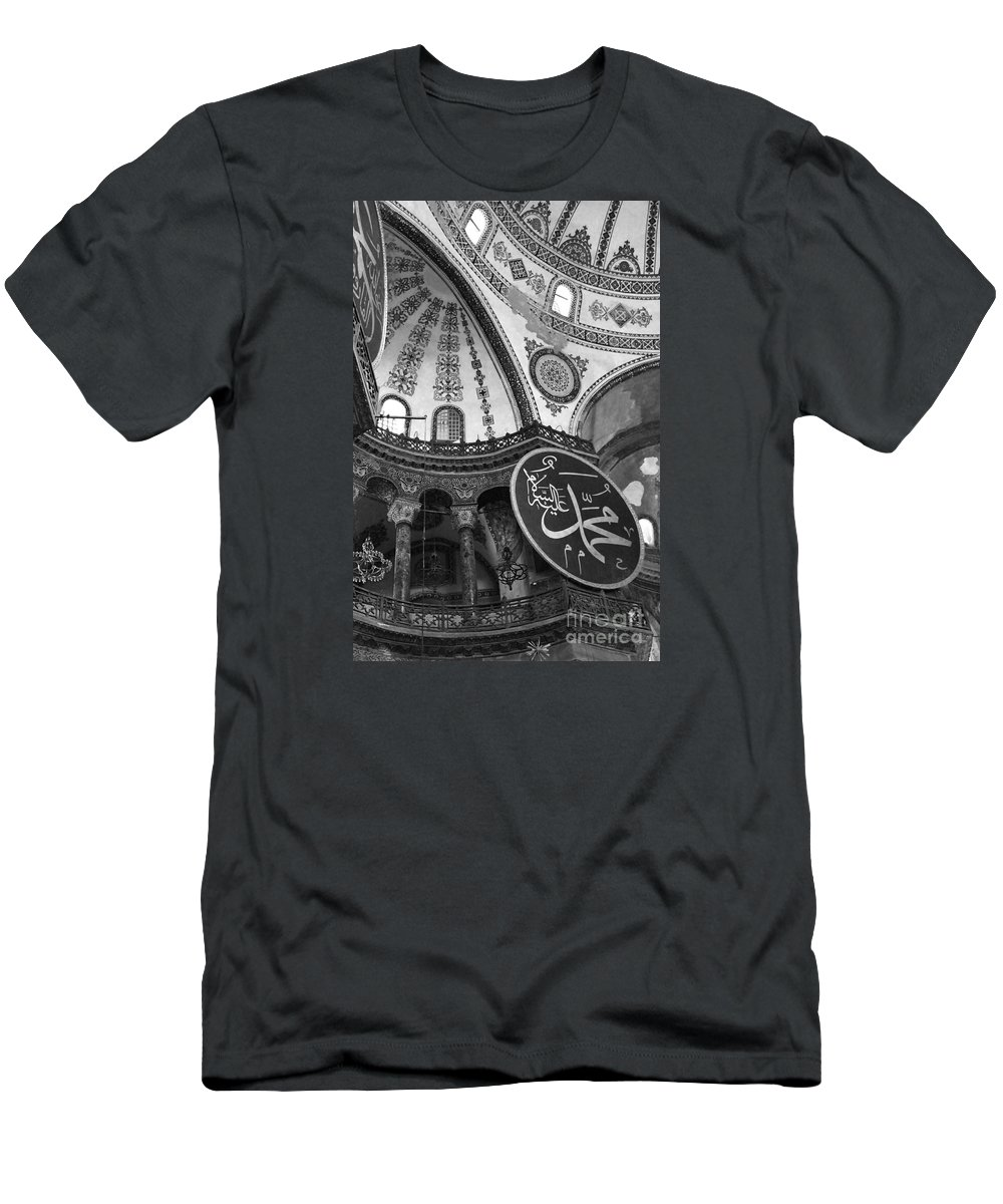 Interior View Of The Hagia Sophia Men's T-Shirt (Athletic Fit) featuring the photograph Hagia Sophia Dome Detail by Christiane Schulze Art And Photography