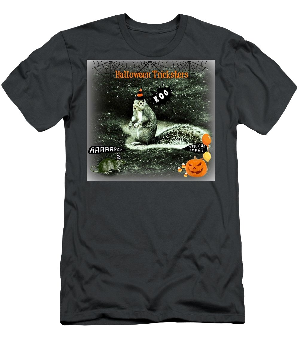 Halloween Men's T-Shirt (Athletic Fit) featuring the photograph Halloween Tricksters by Barbara S Nickerson