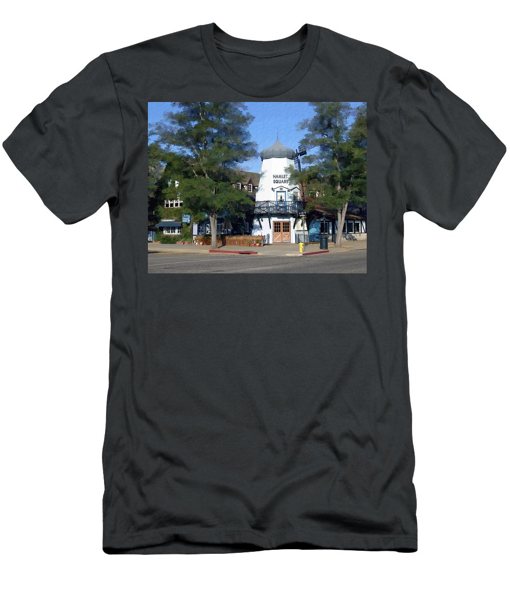 Solvang Men's T-Shirt (Athletic Fit) featuring the photograph Hamlet Square Solvang California by Kurt Van Wagner