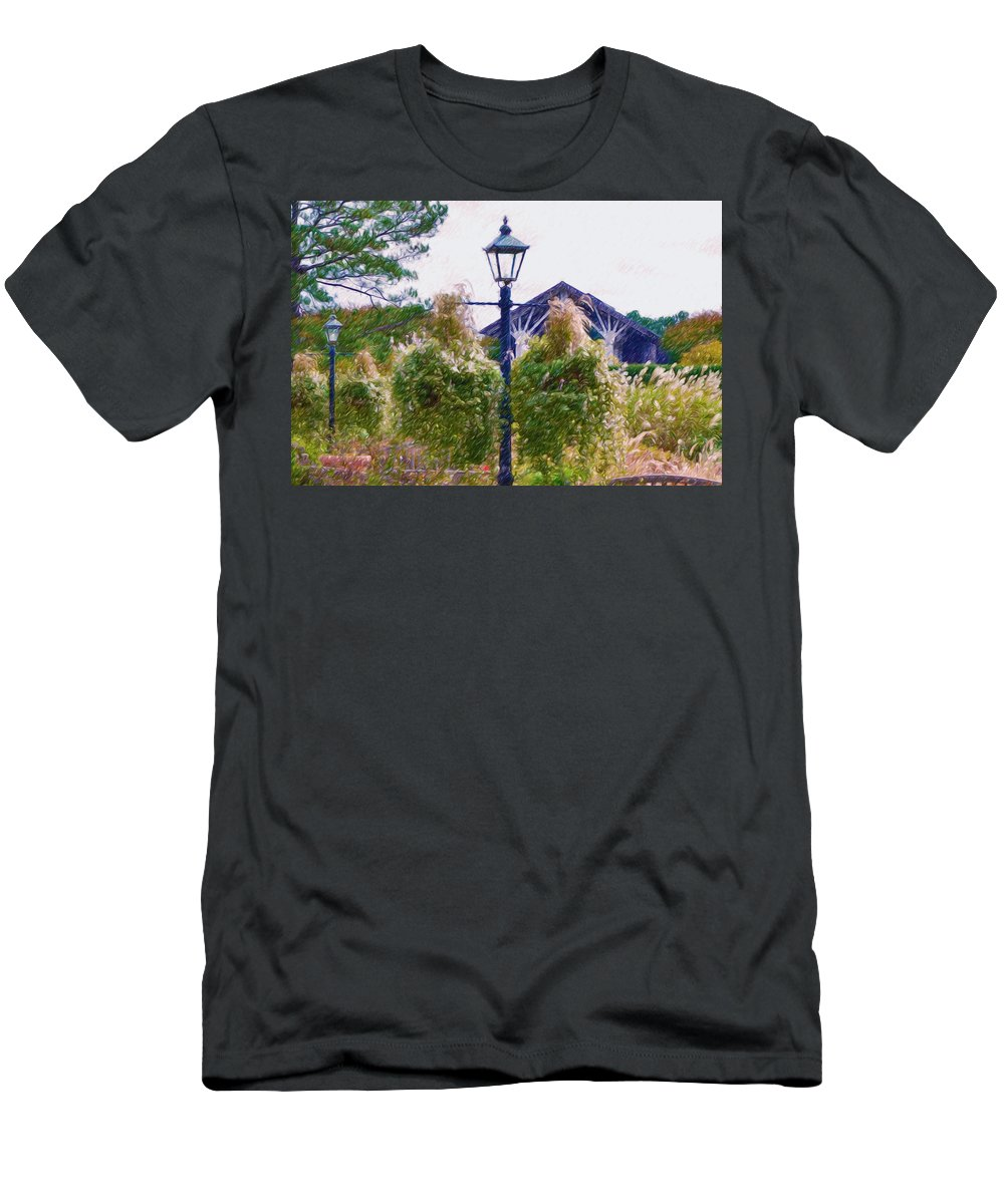 Flower Men's T-Shirt (Athletic Fit) featuring the painting Hanging Flowers With An Old Fashioned Lantern by Jeelan Clark