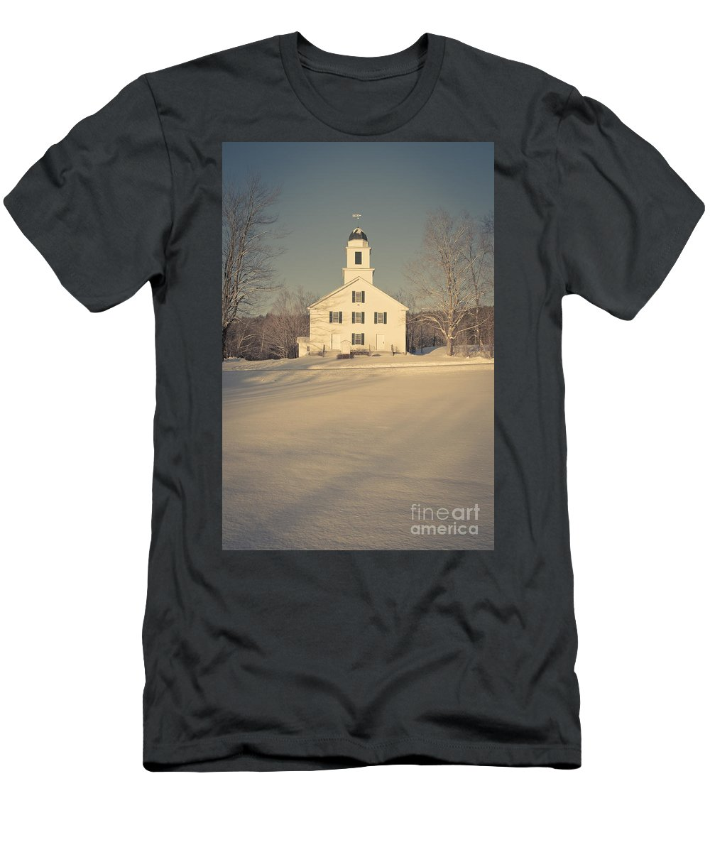 Etna Men's T-Shirt (Athletic Fit) featuring the photograph Hanover Center Church Etna New Hampshire by Edward Fielding