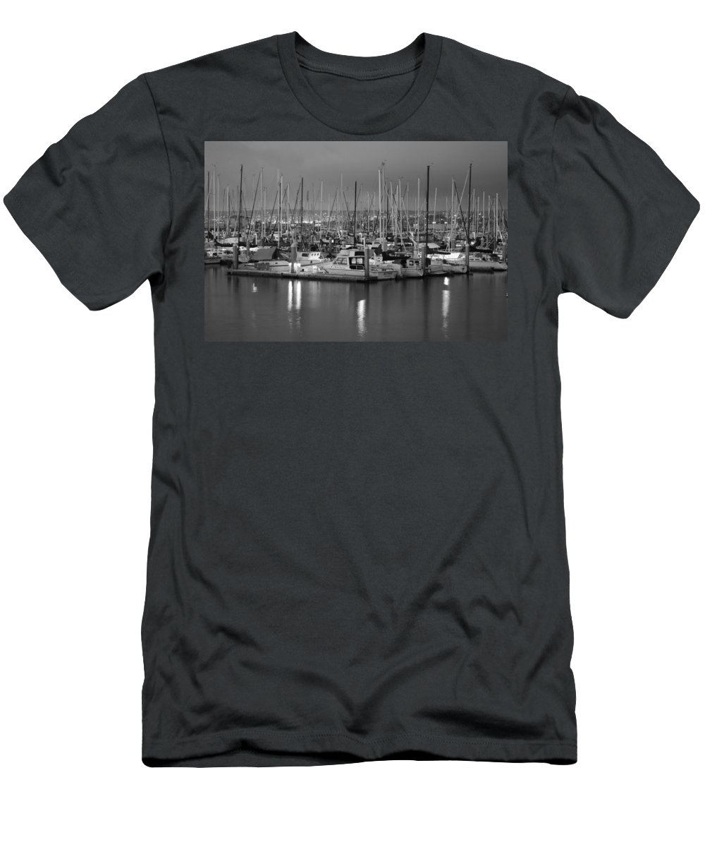 Harbor Lights Ii Men's T-Shirt (Athletic Fit) featuring the digital art Harbor Lights II by Barbara Snyder