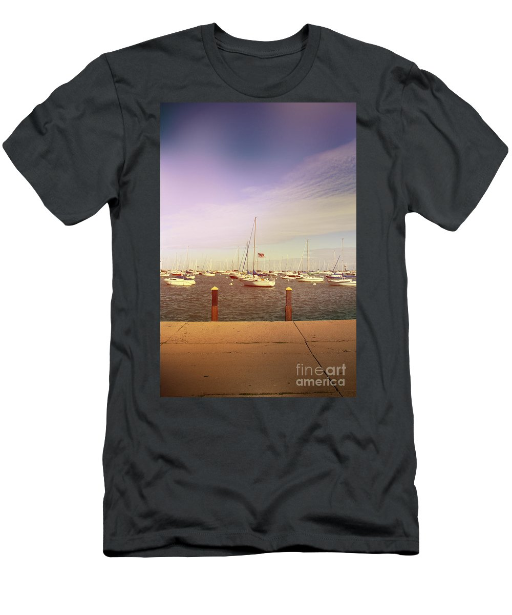 Boats; Yacht; Water; Horizon; Harbor; Many; Clutter; Cluttered; Relax; Relaxation; Pier; Shore; Lake; Sea; Ocean; Sunrise; Sunset; Sky; Clouds; Pretty; Lovely; Flag; American; United States; America; Sail; Sailboat Men's T-Shirt (Athletic Fit) featuring the photograph Harbor by Margie Hurwich