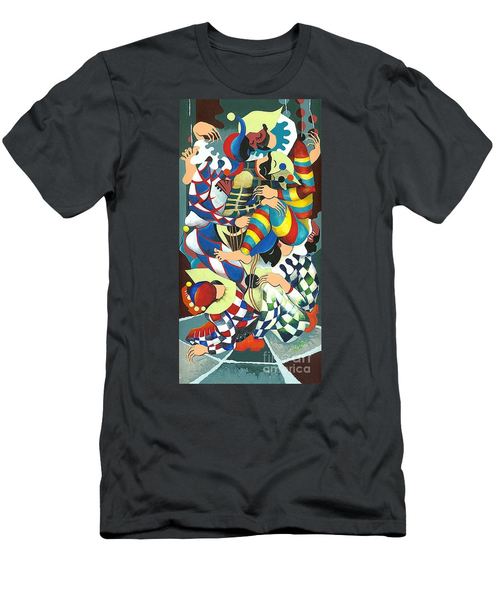 Canvas Prints T-Shirt featuring the painting Harlequins Acting Weird - Why?... by Elisabeta Hermann