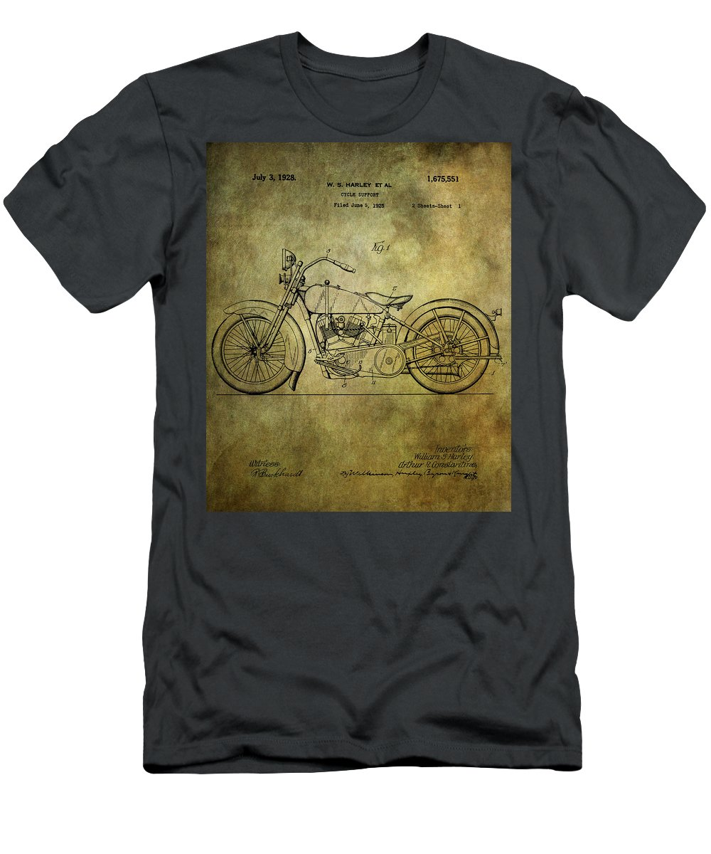 Harley Davidson Men's T-Shirt (Athletic Fit) featuring the photograph Harley Davidson Motorbike Patent by Chris Smith