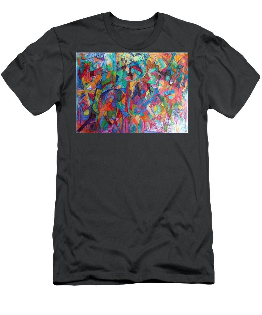 Torah Men's T-Shirt (Athletic Fit) featuring the drawing Harmony Despite Differences 1 by David Baruch Wolk