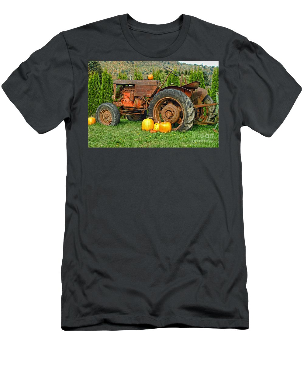 Tractors Men's T-Shirt (Athletic Fit) featuring the photograph Harvest Tractor by Randy Harris