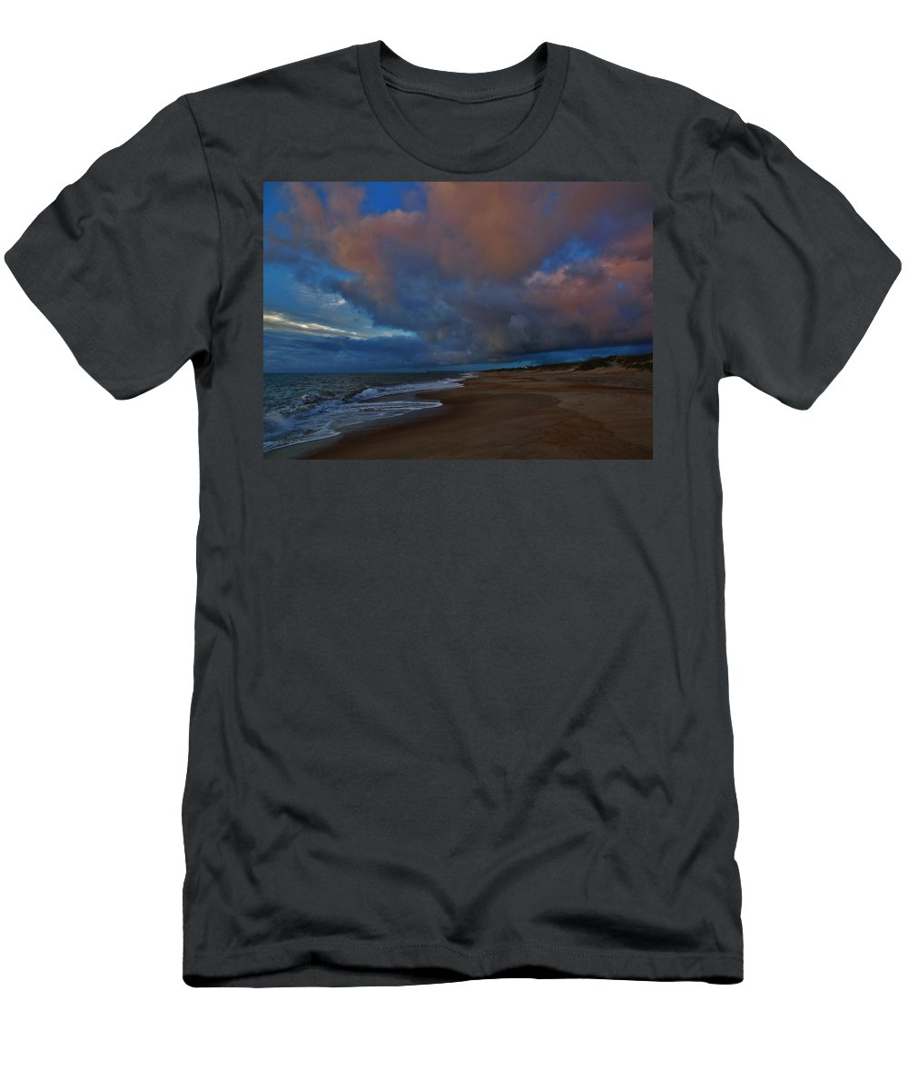 Mark Lemmon Cape Hatteras Nc The Outer Banks Photographer Subjects From Sunrise Men's T-Shirt (Athletic Fit) featuring the photograph Hatteras Island Sunrise 1 9/10 by Mark Lemmon