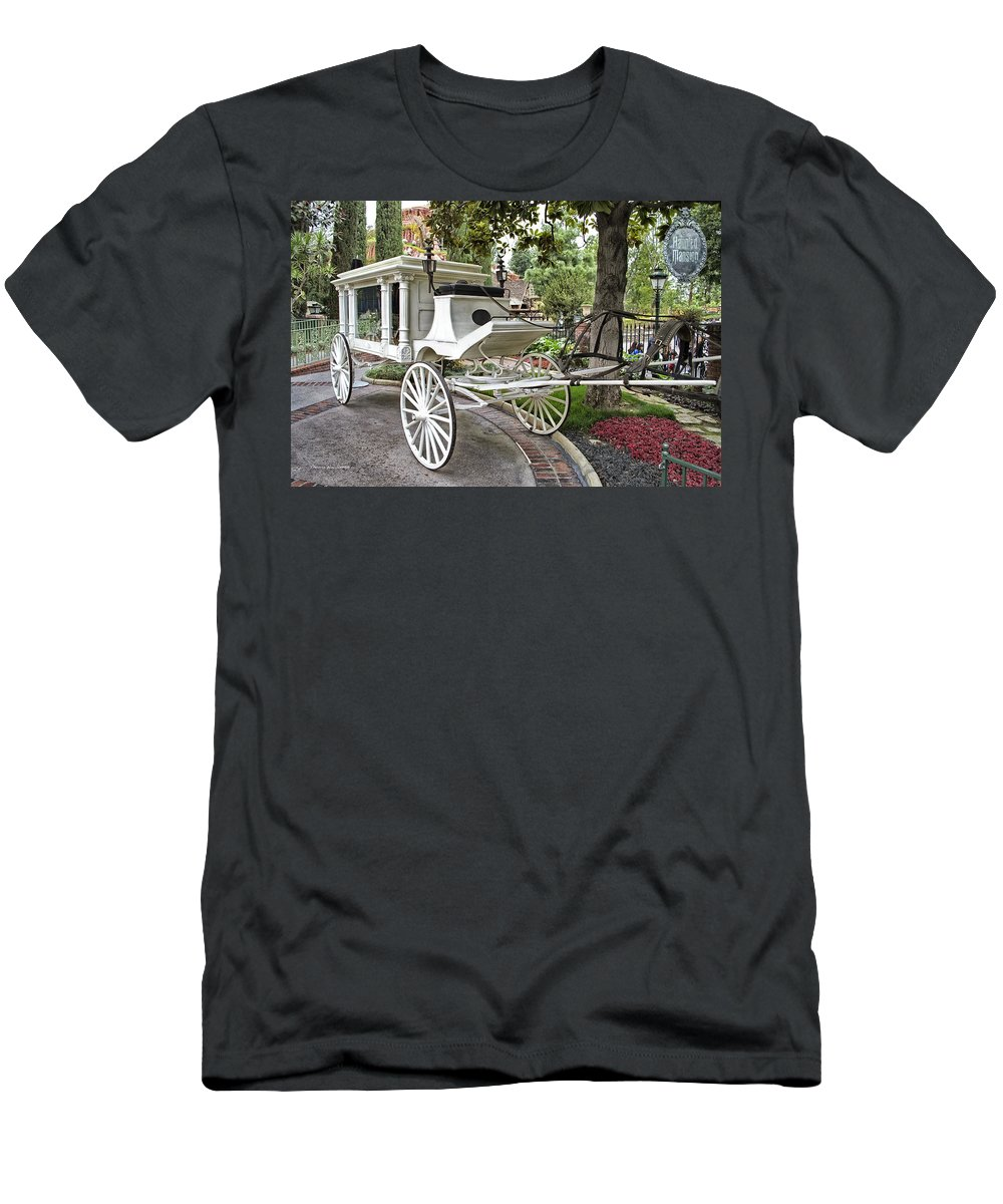 Disney Men's T-Shirt (Athletic Fit) featuring the photograph Haunted Mansion Hearse New Orleans Disneyland by Thomas Woolworth