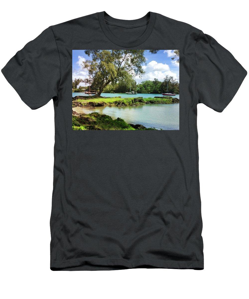 Hawaiian Landscape Men's T-Shirt (Athletic Fit) featuring the digital art Hawaiian Landscape 5 by D Preble