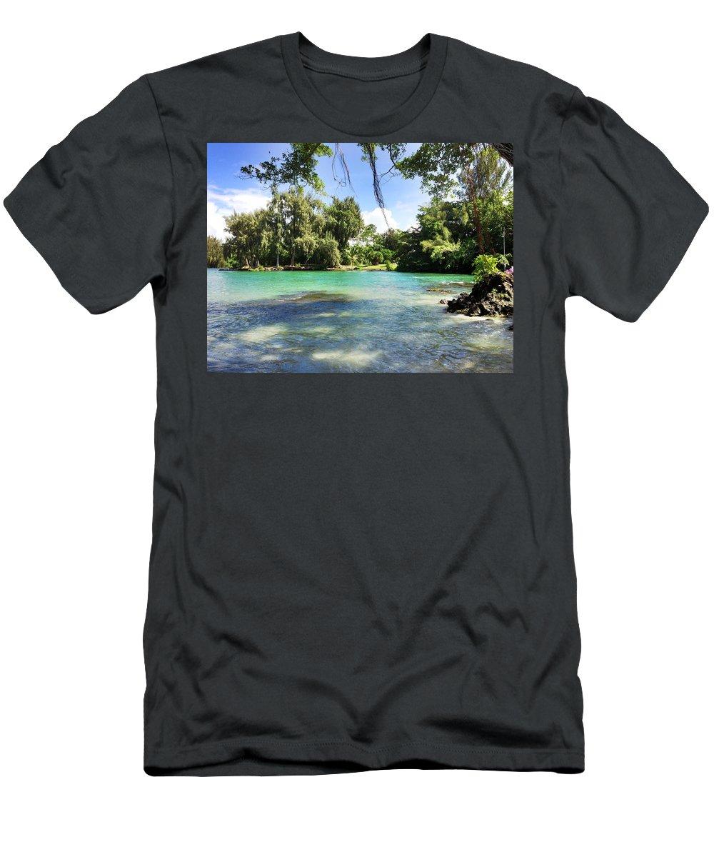 Hawaiian Landscape Men's T-Shirt (Athletic Fit) featuring the digital art Hawaiian Landscape 4 by D Preble